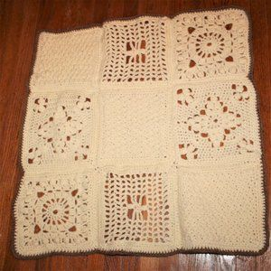 Hand Crocheted Granny Squares Throw Blanket